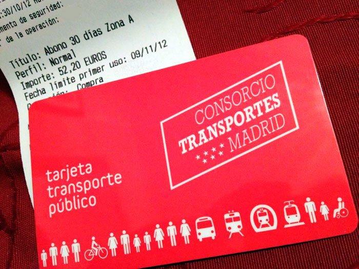 transporte publico de españa tarjeta