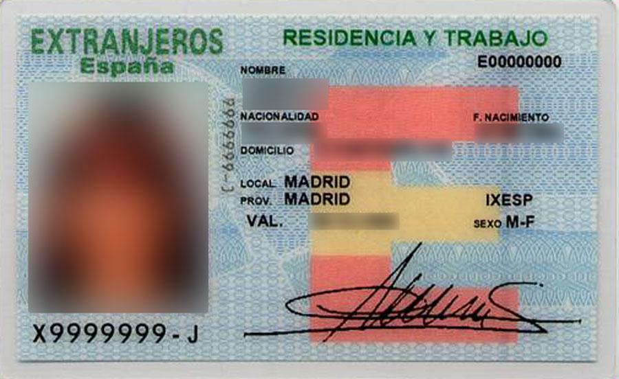 tarjeta extranjeros verde