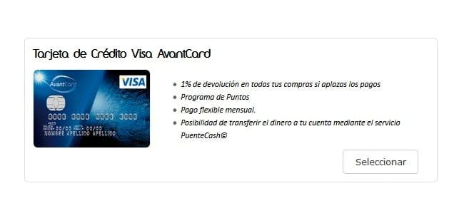 tarjeta avantcard