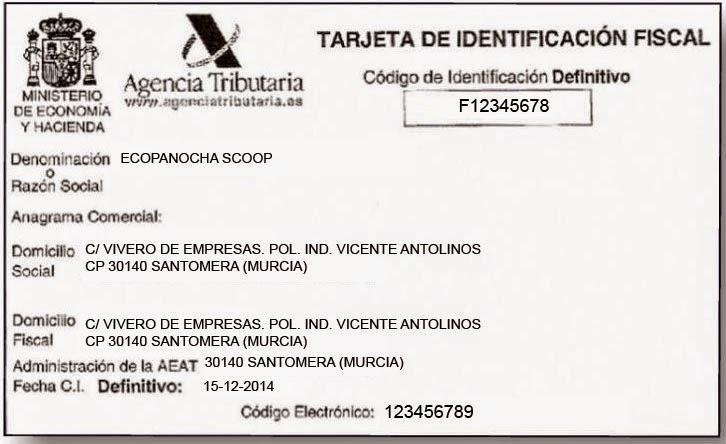 tarjeta de identificacion fiscal